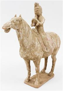 Chinese Tang Dynasty Terracotta Horse & Rider