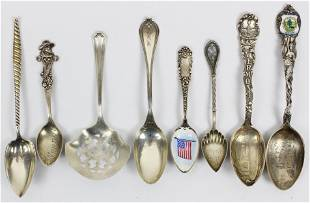 Sterling Silver Souvenir Spoons and Serving Items