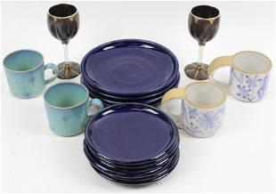 16 pcs Studio Pottery Tableware incl Teta Hilsdon