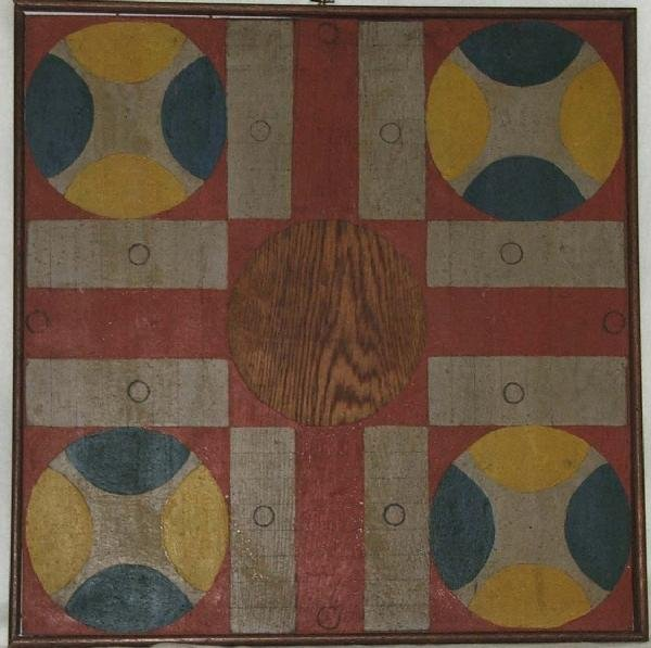 1: 19th century polychrome parchesi game board S.P.Todd
