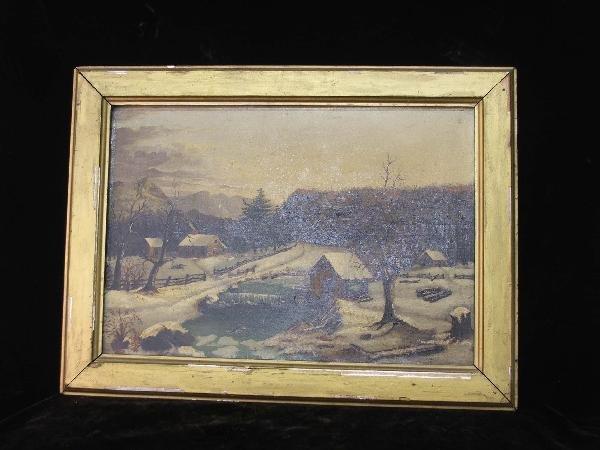 "4: 13 x 19"" o/c New England 19th century winter scene o"