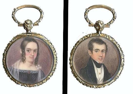 6: double sided locket with two miniature portraits of