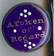 """9: early blue enamel Battersea box """"A Token of Regard"""""""