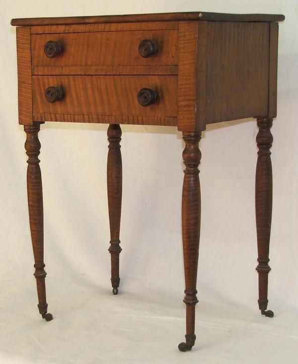 10: Sheraton two drawer tiger maple work table