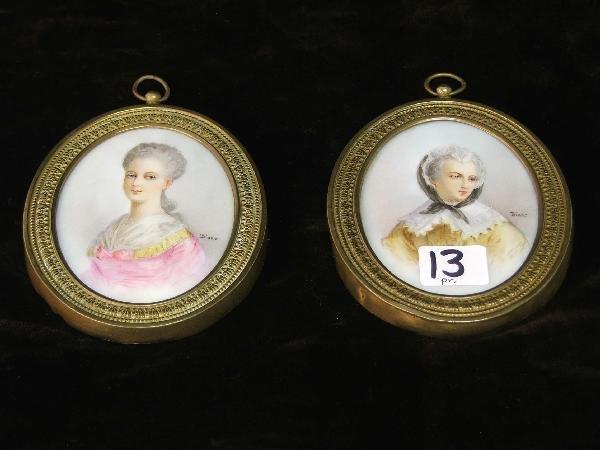 13: pr of Limoges miniatures on porcelain  in gilt bras