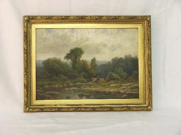 14: 14x 20 in o/c pastoral landscape with cows and rive