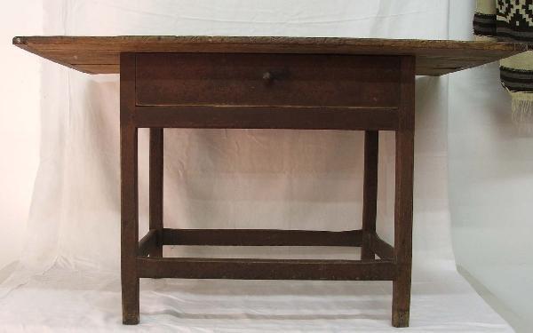 15: 45 inch pine one drawer scrubbed breadboard top str