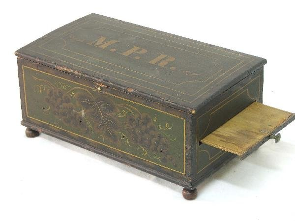 21: paint decorated miniature footed box with initials