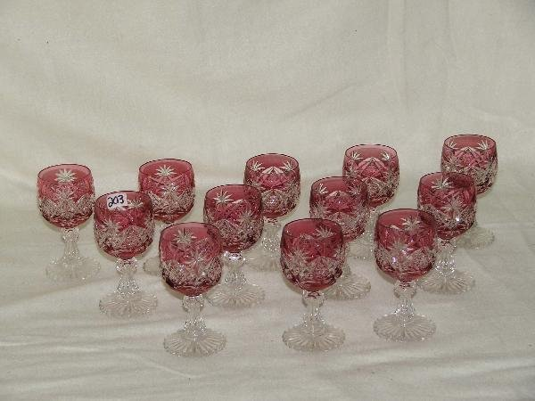 203: 12 ruby cut to clear wine glasses