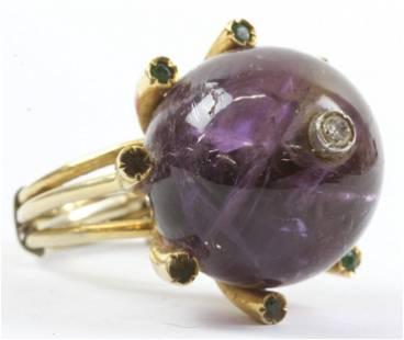 Amethyst, Emerald, & Diamond Ring