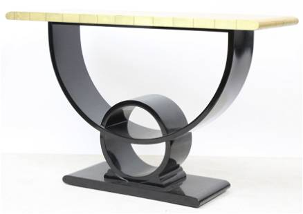 Eclipse Lacquer and Gold Leaf Console Table