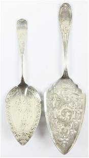 Two Victorian Bright Cut Silver Pastry Servers