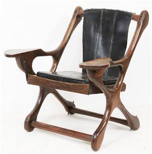 Rosewood and Leather Sling Armchair
