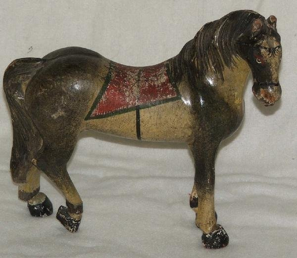 1: 12 inch circa 1868 carved and painted wooden horse t