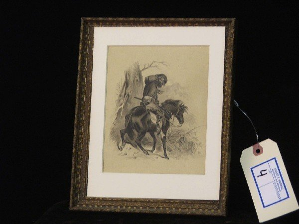 4: unsigned 7x5 inch pen and ink of mountain man on hor