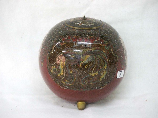 7: Oval cloisonne covered pot with goldstone flecks