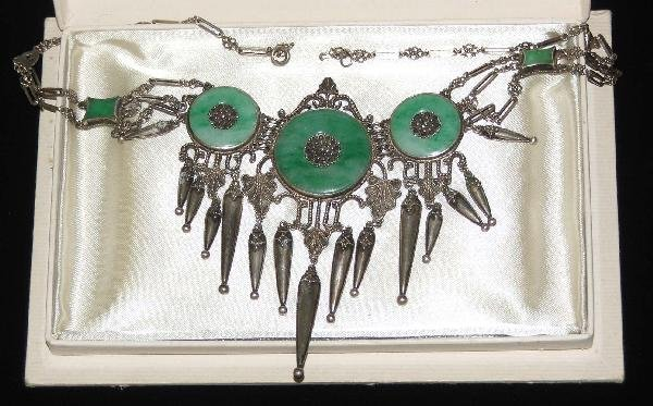 8: Art Deco Richelieu jade oreo and sterling necklace
