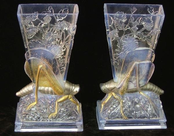 12: pair of Baccarat 9 inch opalescent grasshopper vase