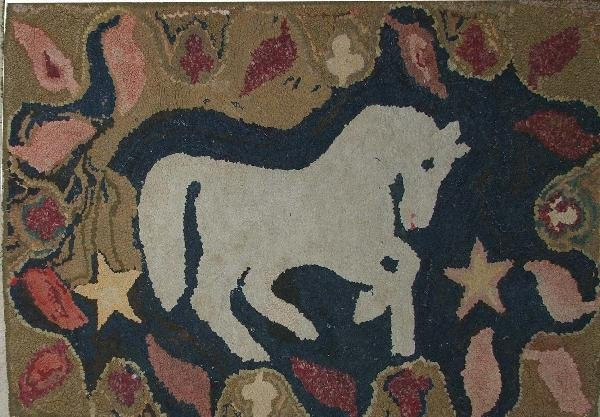 """13: 2'4"""" x 3'9"""" folky hooked rug with horse motif"""