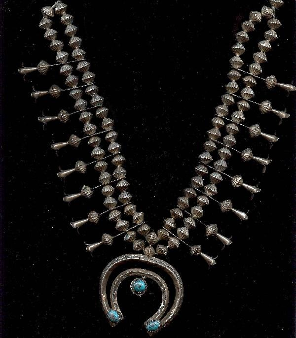 16: 28 inch Navajo silver and turquoise  squash blossom