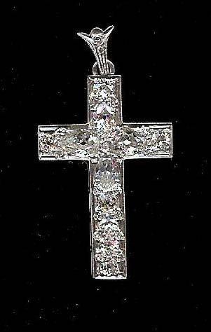 22: platinum and diamond cross with 4 pear cut diamonds