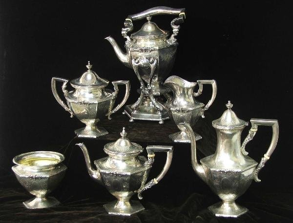 33: Six piece Hardy and Hayes sterling tea set with hot