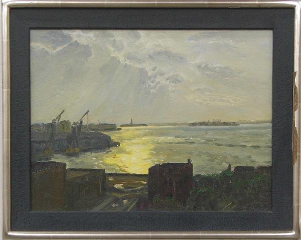 11: Daniel Morper NYC Harbor scene 12 x 15 in OB