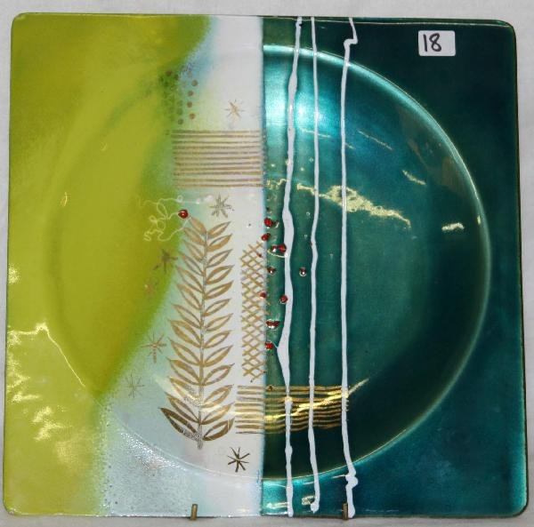 18: 12 inch square enamel on copper plate signed winter