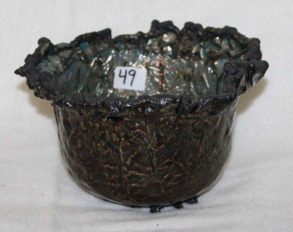 """49: June Schwarcz welded bronze and enamel vase #748 6"""""""