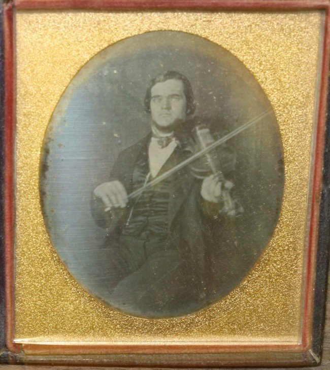 1: Circa 1850 1/6 plate daguerreotype of fiddle player