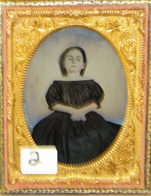2: Circa 1860 1/4 plate tin type post mortem of young g