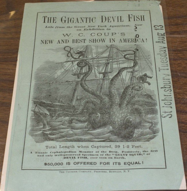 "5: 1877 W.C. Coups ""Giant Devil Fish"" pamphlet with oct"