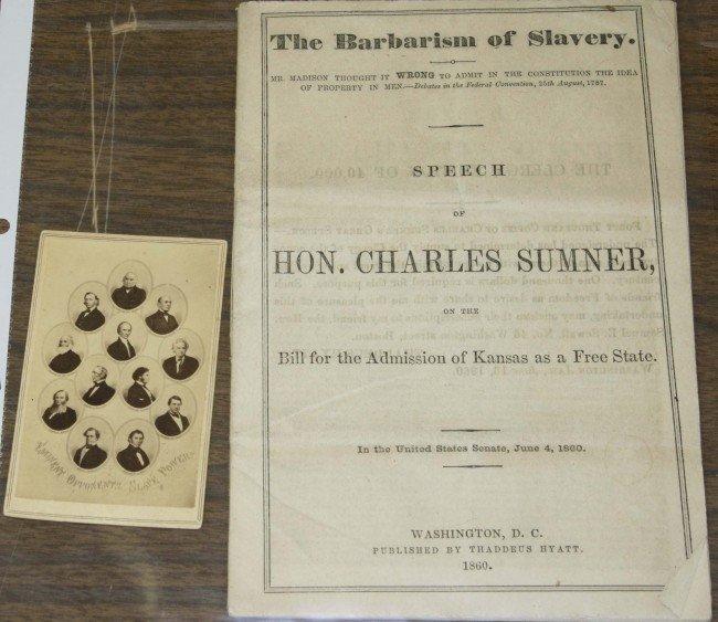 "8: 1860 Charles Sumner ""Barbarism of Slavery"" pamphlet,"
