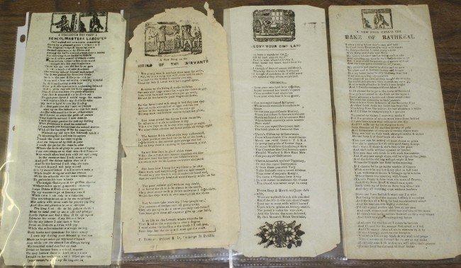 9: Four 18th century handbills with songs