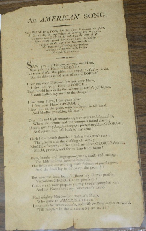 "10: 1778 handbill ""An American Song"" observations By La"