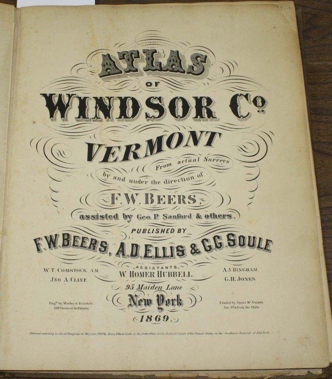 """19: 1869 """"Beer's Atlas of Windsor County VT"""""""