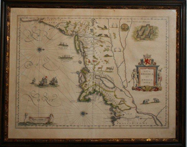 """21: 1661 NE map """"Nova Belgica and Anglia Nova"""" W.J. Bla"""
