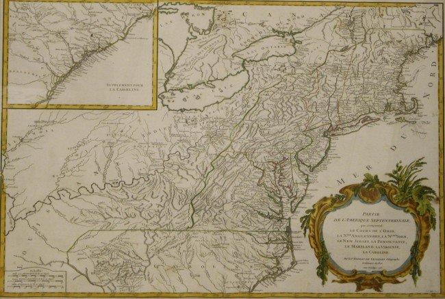 """22: 1755 NE map """"Partie De L'Amerique Septentrionale Qu"""