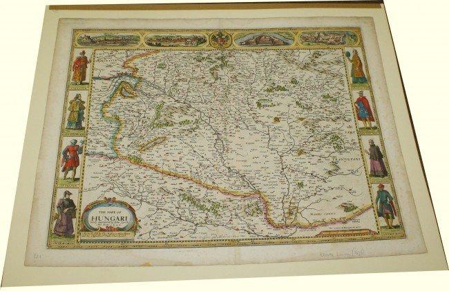 "23: 1626 John Speede London ""Mape of Hungri"" two sheet"