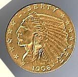 49: 1908 US 2 1/2 gold coin