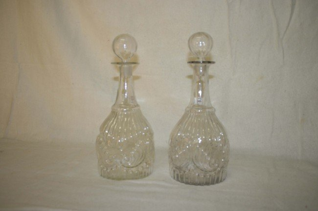 2: pair of early blown clear glass three mold decanters