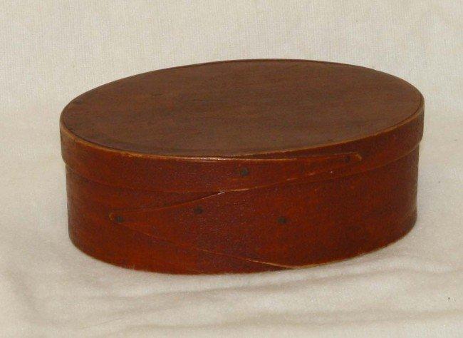 "3: 6"" Shaker oval Harvard single lap box in red paint"