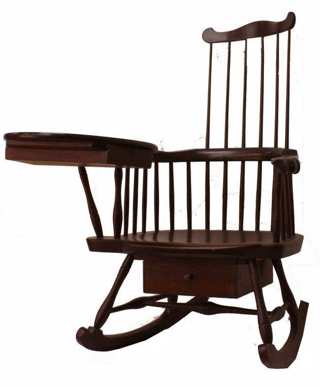 15: 18th century maple writing arm Windsor comb back ro