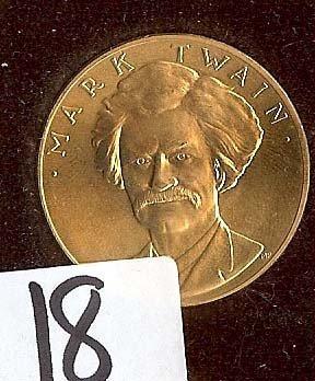 18: 1981 US Mint Mark Twain 1 OZ Gold Commemorative med