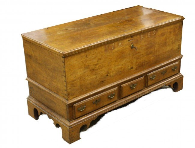 20: Pennsylvania Chippendale walnut dowry chest dated 1