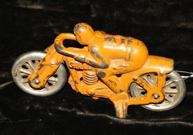 10: Hubley no 5 orange speed racer cast iron motorcycle