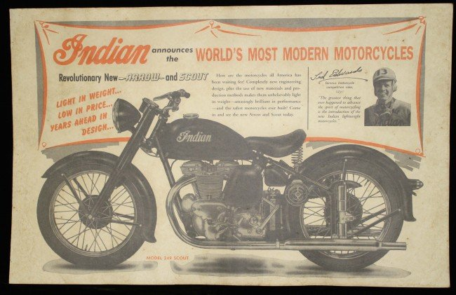 11: Circa 1940 Indian Motorcycle advertisment 11 x 24 i