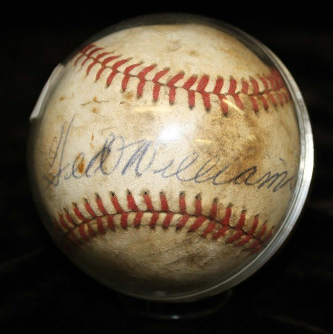 33: Ted Williams signed game ball with letter from his