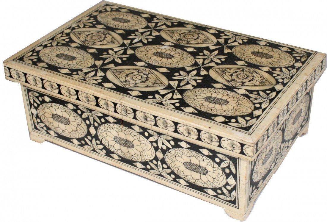 Continental circa 1850 walnut lift top dresser box laqu