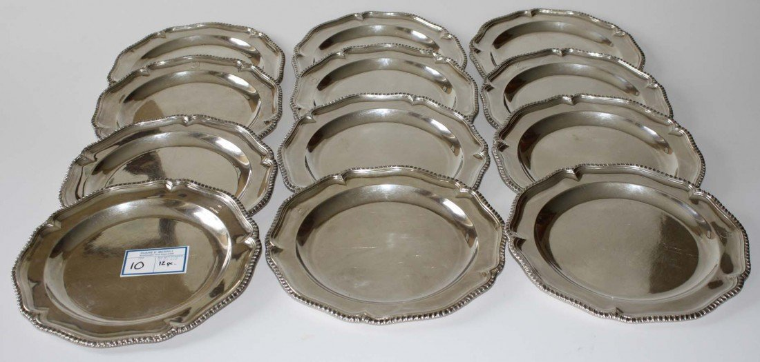 Set of 12 9 inch English silver scalloped edge pltes ma